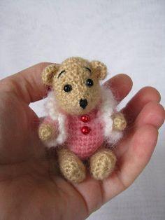 "OOAK Thread artist crochet miniature bear 3"" by AINA K."
