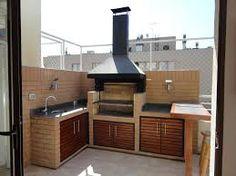 Resultado de imagen para diseños de quinchos y fogones Outdoor Bbq Kitchen, Outdoor Kitchen Design, Outdoor Cooking, Outdoor Seating Areas, Outdoor Rooms, Outdoor Decor, Parrilla Exterior, Brick Grill, Diy Kitchen Storage