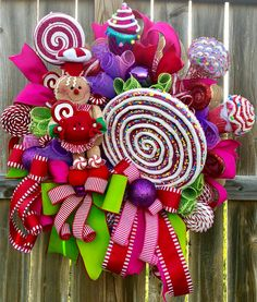 Excited to share this item from my shop: Christmas Candy Wreath, Candyland Christmas Wreath, Candyland Christmas Decorations, Candyland Front Door Decor, Christmas Candy Wreath Candy Land Christmas, Whimsical Christmas, Christmas Gingerbread, Christmas Home, Christmas Holidays, Christmas Crafts, Christmas Ornaments, Gingerbread Crafts, Handmade Christmas