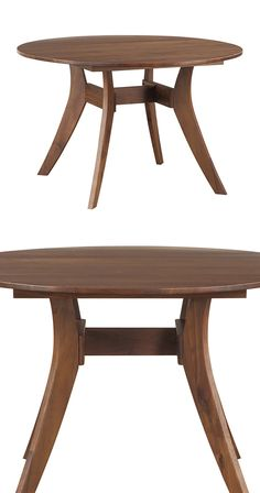 Grab your friends and your appetites to gather round this gorgeous solid walnut dining table. Anchored by delicately curved supports, this beautifully grained Helene Round Dining Table delivers just th...  Find the Helene Round Dining Table, as seen in the New Arrivals Collection at http://dotandbo.com/collections/new-arrivals-7-slash-5?utm_source=pinterest&utm_medium=organic&db_sku=124399