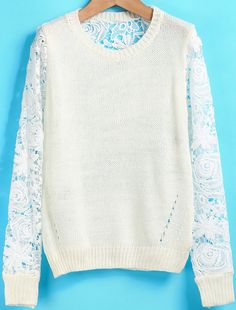 White Long Sleeve Floral Crochet Hollow Sweater