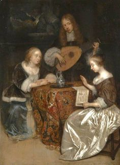 It's About Time: 1600s Music + a passel of elelgant females attributed to Caspar Netscher c 1635-1684