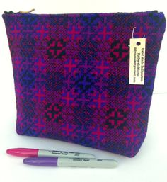 Welsh Tapestry Zip Bag Purple Pink and by didyoumakeityourself