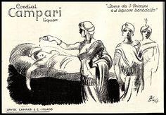 PUBBLICITA' 1929 CAMPARI FAVOLA TRE PRINCIPI E IL LIQUORE MALEDETTO BOSCHINI