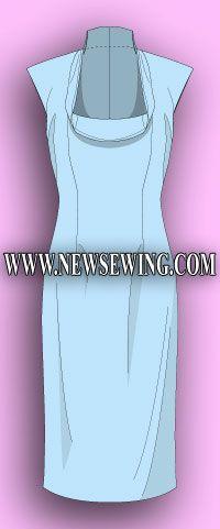 Vestidos de patrón para las mujeres con circunferencia del pecho de 100 cm a 122 cm. (Sin mangas).  Patrón Terminado.
