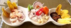 """""""Trio de Cebiches"""" [Peruvian Gastronomy]    Rough English Translation:  """"A trio of Cebiches:  one of seafood, one of fish, and one of Black Clams (black shellfish).......excellent"""" ~ A. Anderson"""