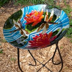 Dragonfly & Flowers Glass Birdbath with Stand. An exquisite sculpture that stirs the soul with its grace and beauty, this angel statue is crafted of durable fiberglass created to offer the antique look that makes it a divine addition to any environment. #birdbath