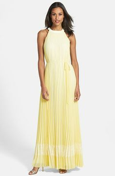 Yellow and bright. Ted Baker London Pleated Halter Maxi Dress available at #Nordstrom