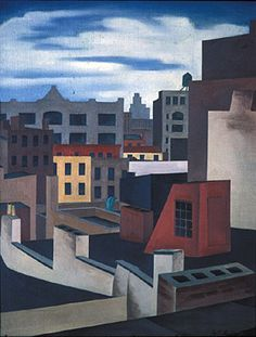 George Copeland Ault (American, 1891-1948), Roofs, 1931