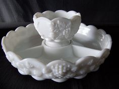 Vintage 1950's Westmoreland Milk Glass Condiment by Chondashers, $25.00