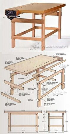 Simple Workbench Plans - Workshop Solutions Projects, Tips and Tricks - Woodwork, Woodworking, Woodworking Plans, Woodworking Projects Simple Workbench Plans, Woodworking Bench Plans, Woodworking Workbench, Woodworking Shop, Woodworking Projects, Workshop Storage, Workshop Bench, Carpentry Tools, Wooden Pallet Projects