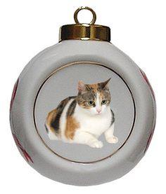 Calico Cat Porcelain Ball Christmas Ornament