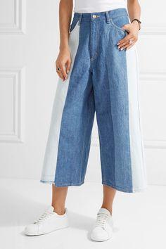 FACETASM Patchwork mid-rise wide-leg jeans