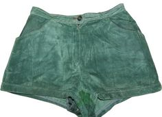 Real Leather SUEDE Green Vintage re worked Hi waist HOTPANTS SHORTS £24.50