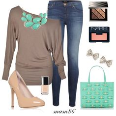 Love the necklace and one shoulder top. Closet Designs, One Shoulder Tops, My Outfit, Stitch Fix, Clothing Ideas, My Style, Polyvore, Cocktails, Stuff To Buy