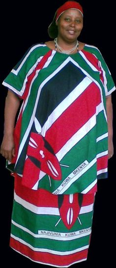 lady wearing a dress made from khangas of the Kenya flag