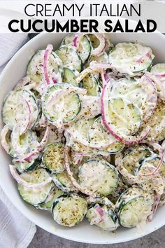 Creamy Italian Cucumber Salad is the best and made easy with thinly sliced cucum. Creamy Italian Cucumber Salad is the best and made easy with thinly sliced cucumbers and red onions! You& love the tangy, creamy dressing! Best Salad Recipes, Cucumber Recipes, New Recipes, Vegetarian Recipes, Cooking Recipes, Favorite Recipes, Healthy Recipes, Cucumber Ideas, Recipes With Cucumbers