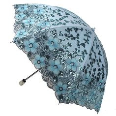 New Women Lady Embroidery Lace Sequin Flower Umbrella Anti-UV Sun Rain Parasol #ANNASParasol #Parasol