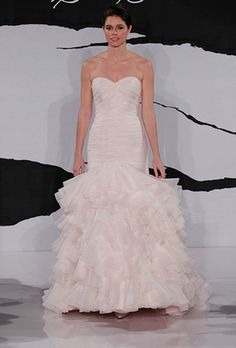 Sweetheart Mermaid Wedding Dress with Dropped Waist in Silk Organza. Bridal Gown Style Number:32354581