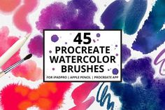 45 Procreate Watercolor Brushes by PicByKate on @creativemarket (affiliate link)