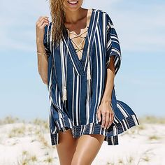 Casual V Neck Sun-Protective Batwing Sleeve Blouse – chic blouses,pretty blouses fashion,womens blouses casual,printed blouse outfit,summer blouses for women Blouse Styles, Blouse Designs, Summer Dress Outfits, Summer Blouses, Blouse Outfit, Batwing Sleeve, Printed Blouse, Blouses For Women, Casual