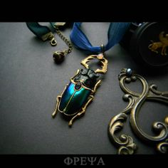 Insect jewelry stag beetle jewelry Art Deco Art nouveau