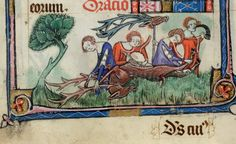 Description: Detail of a bas-de-page scene of three ladies cutting up a stag they have hunted, whilst another lady blows the mort. Origin: England, S. E.? (London?) British Library Yates Thompson 13 f. 83v