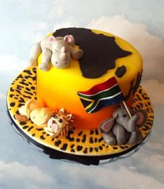 African themed birthday cake Africa Cake, Amaretto Flavor, Cupcake Cakes, Cupcakes, Themed Birthday Cakes, Cake Flavors, Tiered Cakes, Cake Decorating, Raspberry