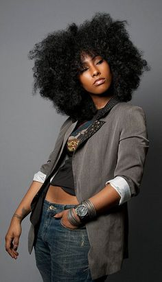 nooneknowshername  stylishlymine:    STYLE IS: FRO, TATT, BANGLES, BLAZER, CROP-TOP, n' JEANS…STRAIGHT-UP SWAGGG!    Always, always, ALWAYS reblog this woman!  Seriously. I have reblogged her at least a dozen times. It's kinda obsessive. Lol