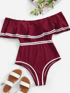 Plus Striped Flounce Bardot One Piece Swim [swimwear190114606] - $34.00 : cuteshopp.com