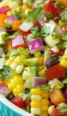 Mexican Chopped Salad The freshest, healthiest, most summery salad. It's loaded with fabulous Southwestern flavor. Author: Chris Scheuer Recipe type: Salad Cuisine: Mexican, Southwestern Serves: as a side Mexican Food Recipes, Vegetarian Recipes, Cooking Recipes, Diet Recipes, Recipies, Kale Recipes, Mexican Party Foods, Mexican Food Buffet, Mexican Fiesta Food