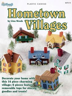 Hometown Villages house cottage plastic canvas patterns in Crafts, Needlecrafts & Yarn, Needlepoint & Plastic Canvas Plastic Canvas Books, Plastic Canvas Christmas, Plastic Canvas Crafts, Plastic Canvas Patterns, Christmas Villages, Christmas Town, Chiffon, Tissue Box Covers, Craft Shop