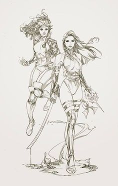 Rogue and Psylocke by Kenneth Rocafort *