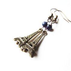 eiffel tower earrings - adorable antique bronze Paris dangle earrings with lapis lazula beads. $7.50, via Etsy.