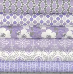 Jackie Studios Lavishmint collection for Camelot Fabrics. Fat Quarter Quilt, Quilt Material, Grey Quilt, Fabric Combinations, Textiles, Purple Fabric, Fabulous Fabrics, Cotton Quilts, Fabric Patterns
