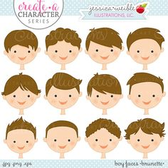 Create • a • Character Series: Blonde Boy Faces. This set comes with 12 boys faces featuring different hairstyles, all in the color: BRUNETTE.