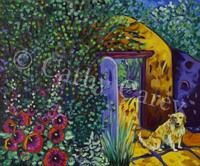 """: Waiting at the Adobe Gate, 30"""" x 24"""", Oil - SOLD by Cathy Carey ©2010"""