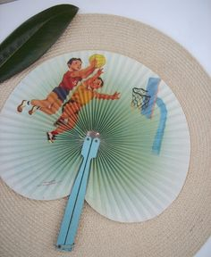 Vintage Chinese Fan with Retro Graphics by Modernera on Etsy, $7.50