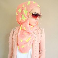 Pink and yellow stars everywhere hijab