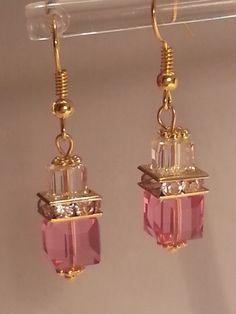 Crystal Cube Earring In Rose