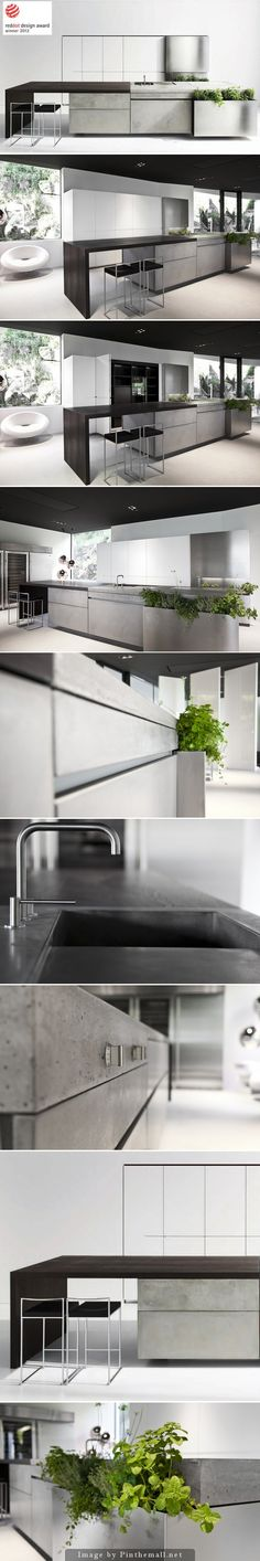 A beautiful concrete kitchen design that received the Red Dot Design Award. - if its hip, its here - My Interior Design Ideas Modern Interior Design, Interior Design Kitchen, Interior Architecture, Küchen Design, House Design, Kitchen Dining, Kitchen Decor, Kitchen Island, Concrete Kitchen