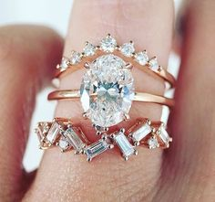 The little rectangular band as an engagement ring with thin silver wedding band- love this idea