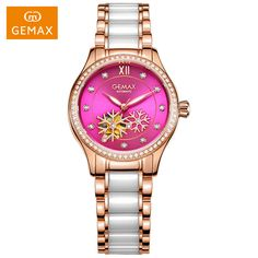 Cheap wristwatches automatic, Buy Quality wristwatch women directly from China wristwatch mechanism Suppliers: GEMAX Women Watches Automatic Ladies Dress Watches Female Pink Watches Luminous Ceramic Mechanical Watch Luxury Wristwatches