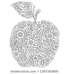 Highly detailed floral pattern made in Mehndi style in form of apple fruit. Decoration flower in ethnic oriental, Indian style. Adult Coloring, Coloring Pages, Henna Drawings, Mehndi Style, Floral, Pen Art, Henna Patterns, Pattern Making, Royalty Free Photos