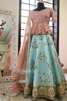 Pastel love by Rianta's Party Wear Indian Dresses, Indian Wedding Gowns, Indian Bridal Outfits, Indian Gowns Dresses, Party Wear Lehenga, Bridal Lehenga Choli, Indian Designer Outfits, Pakistani Dresses, Choli Designs