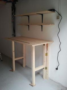 Garage Organization Tips, Diy Garage Storage, Cool Furniture, Furniture Design, Diy Furniture Table, Diy Workbench, Garage Makeover, Garage Workshop, Home Projects