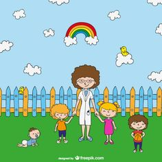 Teacher with kids cartoon Freepik-People-pin-47