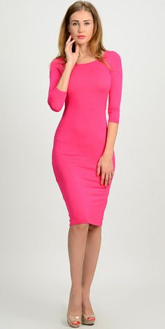 Modest pink body con midi dress with 3/4 sleeves | Mode-sty #nolayering