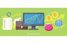 Exchange Rates Design Flat Concept. Business Infographic. $5.00