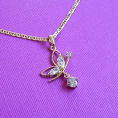 Butterfly Charm Pendant 14k Yellow Gold Layered with White CZ Stones